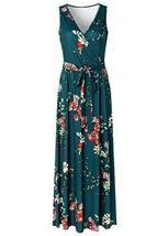 Zattcas Womens V Neck Sleeveless Empire Waist Floral Maxi Dress,Teal Green,X-Lar image 4