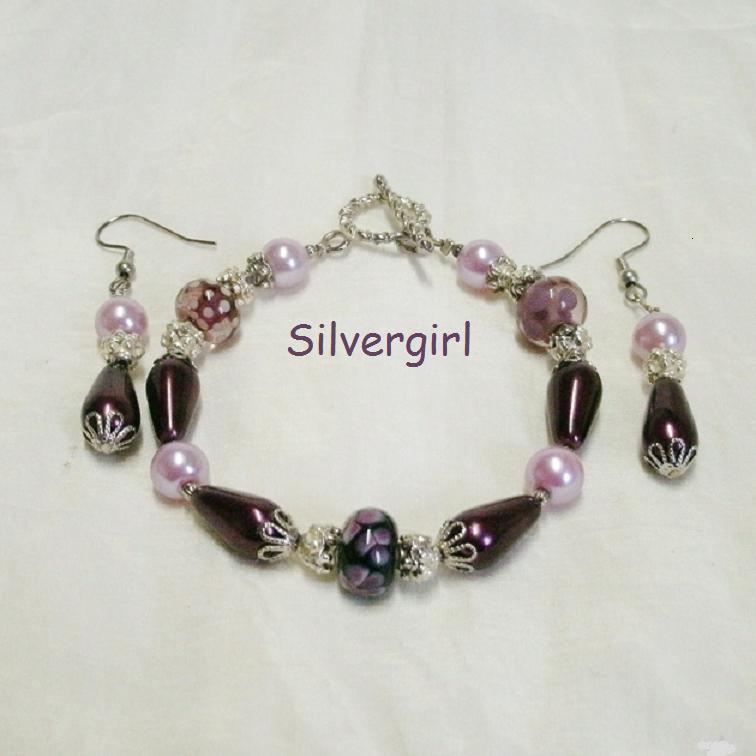 Plum Pudding Pearl Floral Lampwork Bracelet & Earring Set