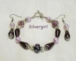 Plum pudding pearl floral lampwork bracelet   earring set thumb155 crop