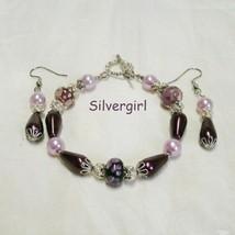 Plum Pudding Pearl Floral Lampwork Bracelet & Earring Set - $19.99