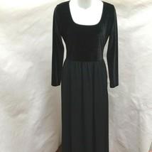 Laura Ashley 6 Maxi Dress Black Velvet Silk Contrast Long Sleeves Vintage - $36.25