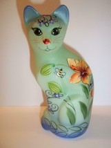 Fenton Glass Green-Blue Tiger Lily Bee Stylized Cat Ltd Ed K Barley #3/3 - $222.62