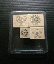 Stampin' Up Rubber Stamps Polka Dot Punches Set Heart Flowers Floral 4 P... - $9.31