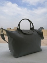 Longchamp Le Pliage Large Gray Handbag Neo Shoulder Strap Pebble Gale 15... - $84.99