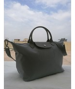 Longchamp Le Pliage Large Gray Handbag Neo Shoulder Strap Pebble Gale 15... - $79.99