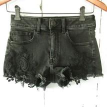 American Eagle Hi Rise Shortie Shorts 2 Faded Black Lace Jeans Denim Str... - $18.50