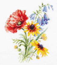 Cross Stitch Kit Hand Embroidery Flowers Bouquet with a Poppy - $26.98