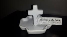 David Allen WHITE Ceramic RELIGIOUS CROSS Jewelry Ring Holder Nice Gift!... - $12.99