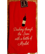 """Dashing through the Snow w/ a Bottle of Merlot"" Wine Embroidered Kitche... - $15.00"