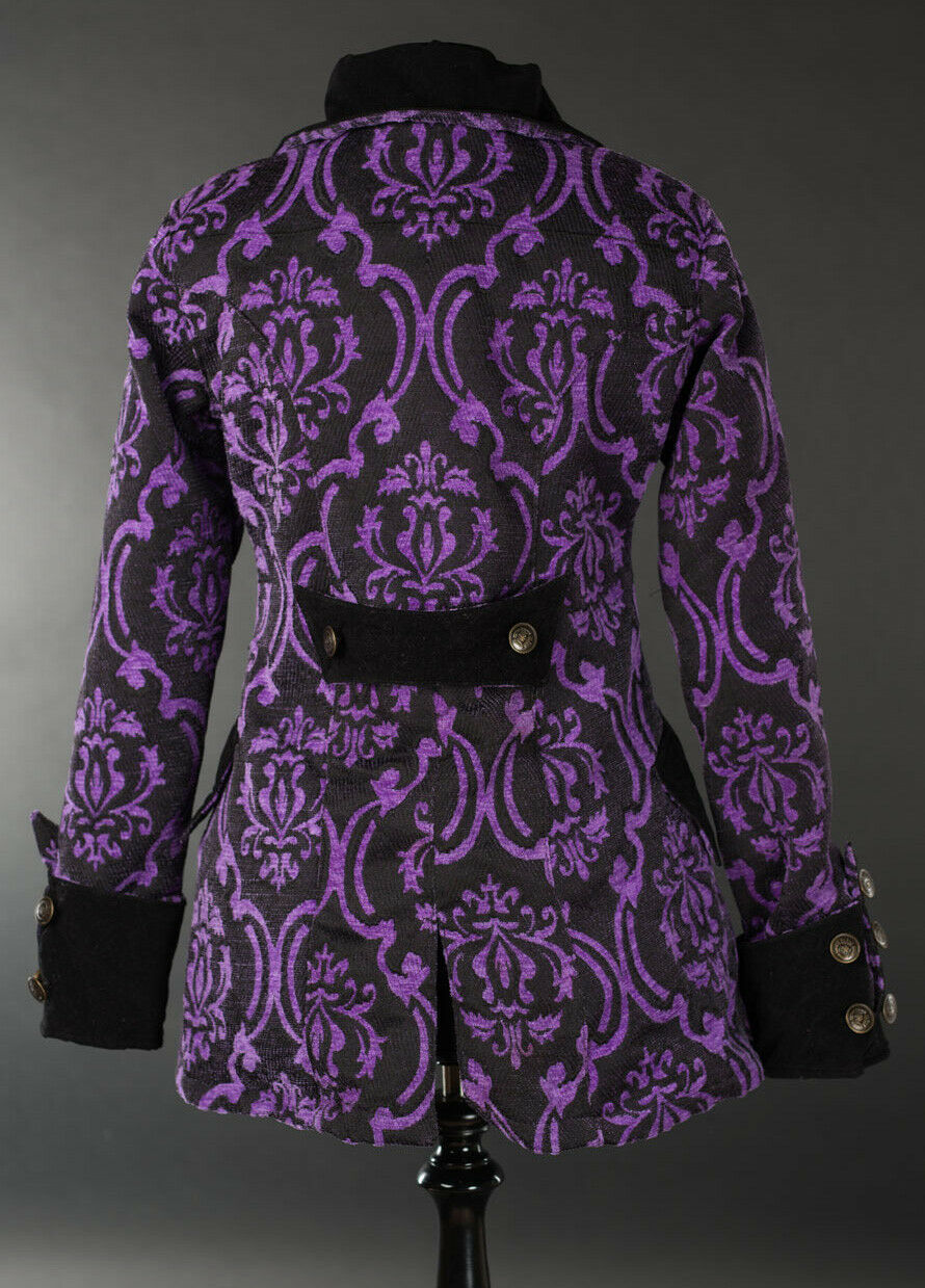 Black Purple Brocade Goth Victorian Jacket Steampunk Short Pirate Princess Coat
