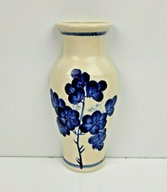 """Delft Style Wall Pocket Vase Ceramic Blue Flowers Floral Hand Painted 5.5"""" - $12.99"""