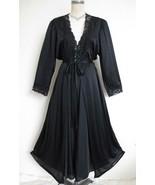Vintage Olga Bodysilk Full Sweep Peignoir Set Black XL Stretch Nightgown... - $159.99