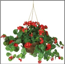 Artificial Flower Geranium Hanging Basket Silk Plant Porch Floral Decor Mom Gift - $69.99