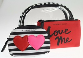 Victorias Secret~Cosmetic Bag Trio~makeup case set Hearts stripe LOVE ME... - $39.11