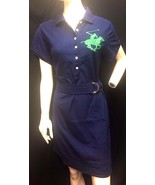 NEW Beverly Hills POLO Club Dress Plus Size Belt Blue Button stretch  Si... - $13.99