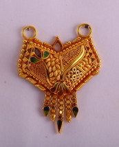 FILIGREE DESIGN 20K GOLD PENDANT NECKLACE HANDMADE GOLD JEWELRY RAJASTHAN - $636.17