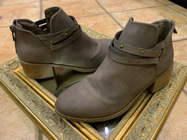 NINE WEST CAMRYNN Ankle Boots WOMEN 4 M TAUPE BROWN BACK ZIP HARNESS STR... - €19,55 EUR