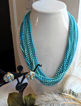 Vintage Multi Strand Faux Turquoise Necklace Earrings Demi-Parure Jewelr... - $28.50