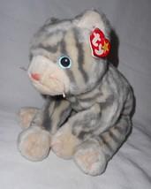 1999 Ty Beanie Buddy Silver Cat Kitty Plush Stuffed Animal Grey Stripes - $16.28