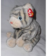 1999 Ty Beanie Buddy Silver Cat Kitty Plush Stuffed Animal Grey Stripes - $16.28