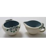 Vintage Blue Rose Pottery Creamer & Sugar Set Shabby Chic Decor  - $10.00