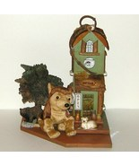 Large Antique Shop Rustic Wood Birdhouse on Base with Wolf Bear and Soun... - $25.00