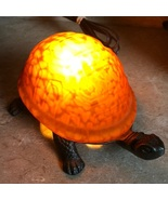 Amber Colored Glass Turtle Lamp Beautiful Turtle Stained Glass Lamp - $59.99