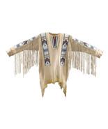 New Native American Handmade Beads Buckskin Buffalo Hide Powwow War Shir... - $299.00+
