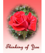 """Thinking of You"" NoteCards: 2 Handmade Floral-... - $2.95"