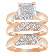 0.46 Carat Round Diamond 10k Rose Gold Finish Bridal Trio Set Engagement... - $174.00