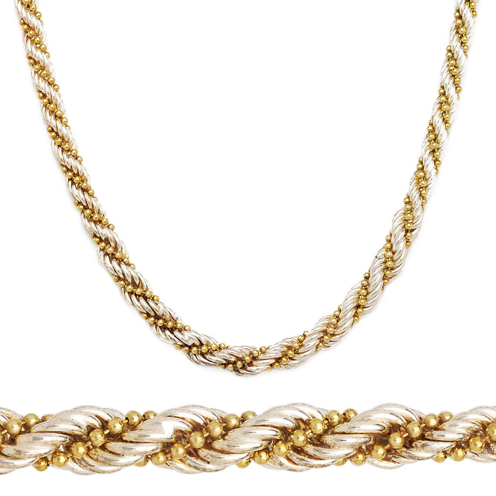 925 Sterling Silver 14k Yellow Gold Twist Rope Bead Link Chain Necklace Italy
