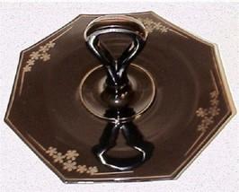 Beaumont Black Glass Center Server Handle Plate CHS Flowers  Plate - $21.99