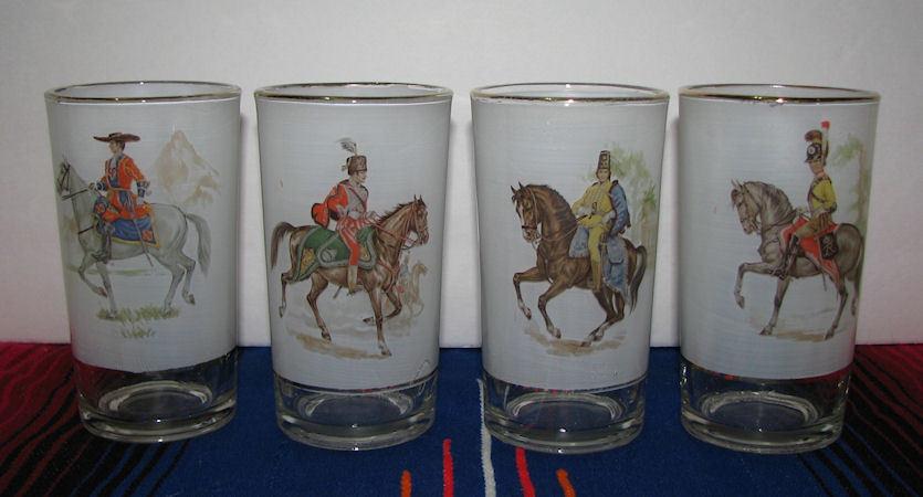 Set of 4 Vintage Royal Military Beverages Glasses