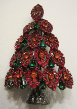 FESTIVE LAYERED  RED & GREEN RHINESTONE CHRISTMAS TREE BROOCH PIN - $35.99