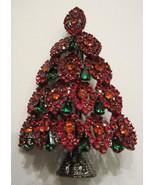 FESTIVE LAYERED  RED & GREEN RHINESTONE CHRISTMAS TREE BROOCH PIN - $35.99