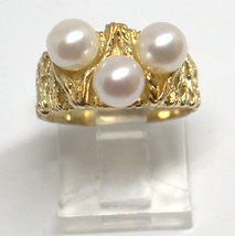 RETRO 14K YELLOW GOLD RING  3 WHITE PEARLS SIZE 6 #98447-13 D - $237.60