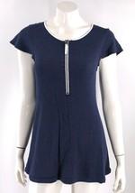 Kensie Tunic Top Size Small Blue White Zipper Neck Cap Sleeve Shirt Womens - $12.67
