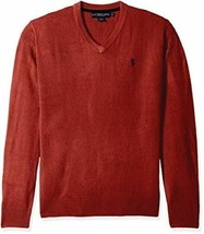 Men's Sweater Solid V-Neck Pullover U.S. Polo Assn. Long Sleeve Red