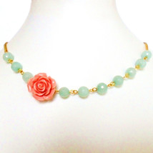 Mint Coral and Gold Necklace, Rockabilly Flower Necklace, with faceted a... - $11.99