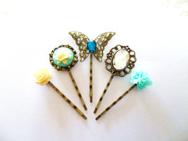 Something Blue Cameo Rose and Rhinestone Butterfly Vintage style Bobby P... - $11.50