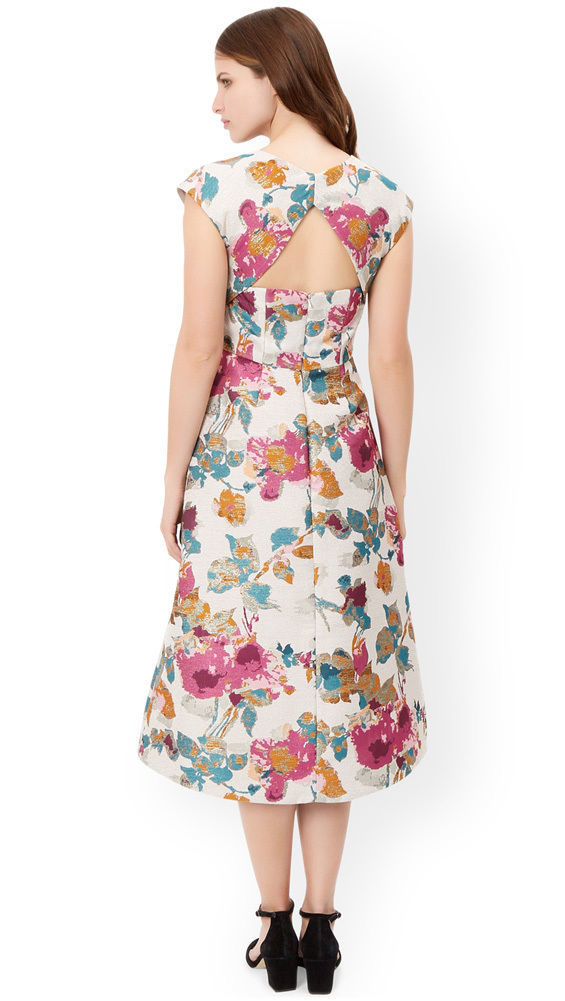 MONSOON Buda Jacquard Midi Dress Size UK 12 BNWT