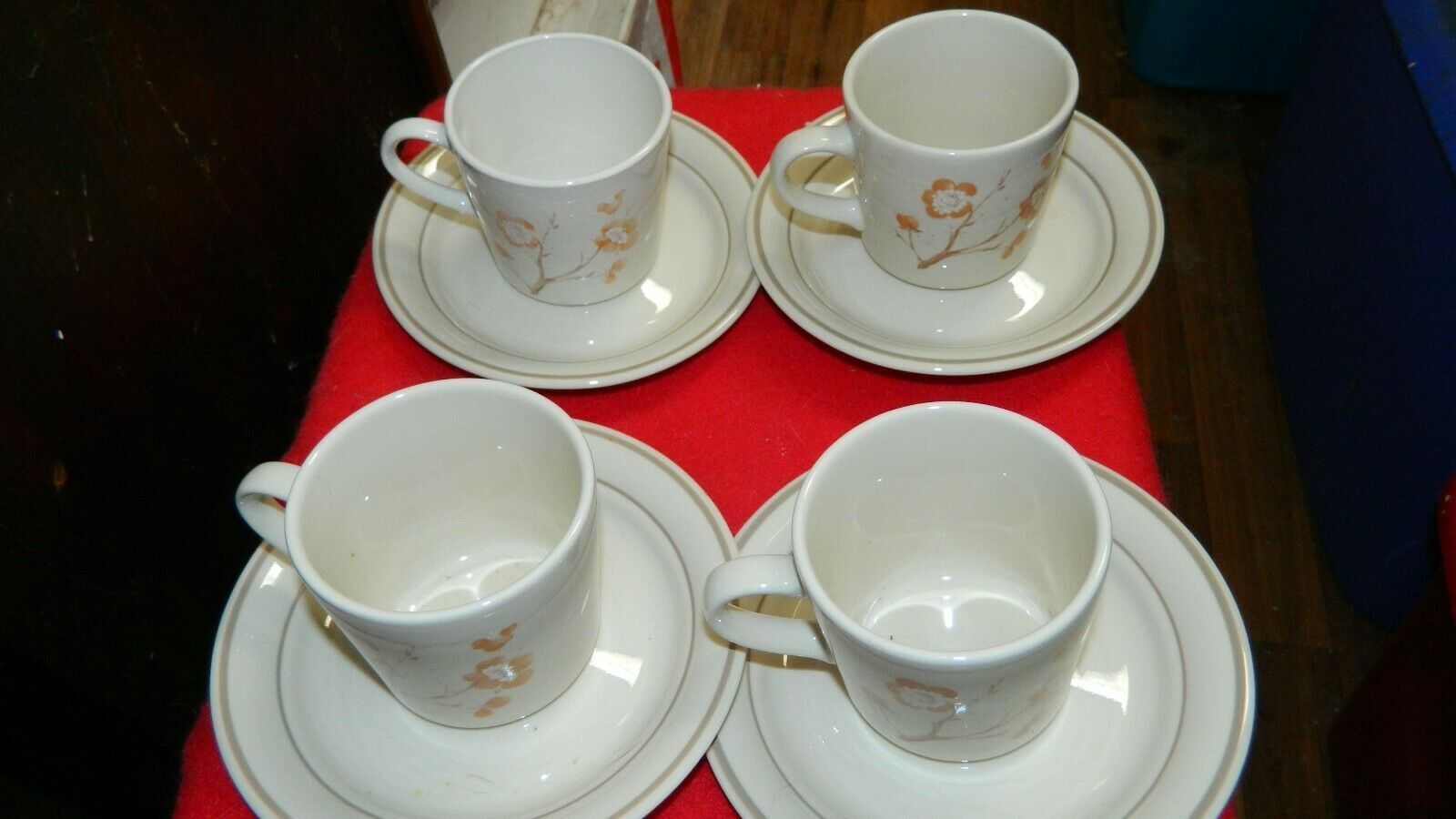 Primary image for CORELLE CHINA BLOSSOM CUP & SAUCER  4 OF EACH  8 TOTAL PIECES FREE USA SHIPPING