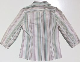 lot 2 dress shirts button 3/4 sleeve fitted stripe Old Navy size XS Express sz 2 image 10