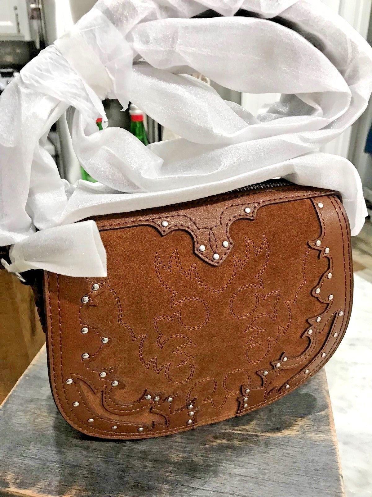 2decf24122dd Polo Ralph Lauren Western Suede Italian Leather Crossbody Bag in Brown Msrp  248