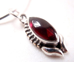 Garnet Marquise 925 Silver Sterling Nicely Accented Necklace New - $21.17