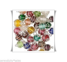 150 Silver Wire Wrappped Glass Bead Links 8mm Round w/ 2  end Loops Mixe... - $21.77