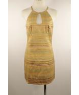 Nanette Lepore Sz 6 100% Raw Silk Gold Brown Purple Striped Sheath Dress - $9.89