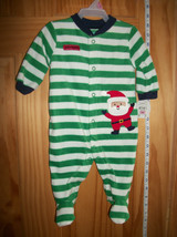 Carter Holiday Baby Clothes 0M-3M Striped Santa Playsuit Green Christmas Sleeper - $14.24