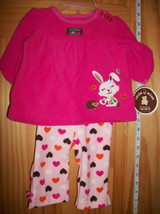 Carter Baby Clothes 0M-3M Newborn Heart Pant Set Pink Bunny Shirt Top Ou... - $12.34