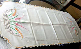Antique Table Runner- Pink and Orange Embroidered Flowers, Crocheted Edge #40441 - $12.00